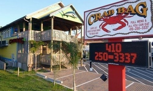 Exterior of Crab Bag Restaurant OC Maryland