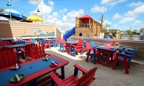 Red and Blue tables at Dead Freddies Restaurant