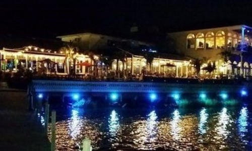 Waterfront Fager's Island lit up at night