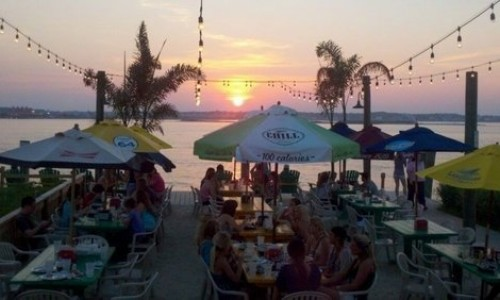 Outdoor dining at Macky's during sunset