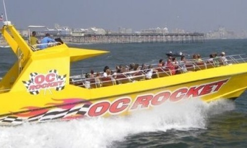 OC Rocket Speedboat in Ocean