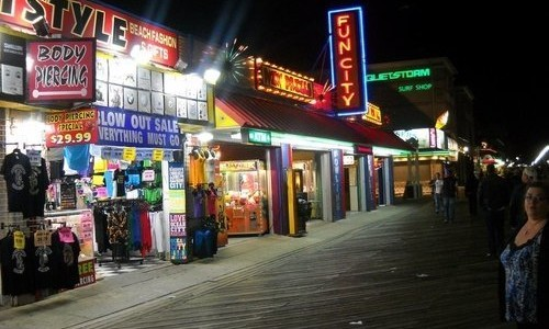 Ocean City Boardwalk Shops at Night