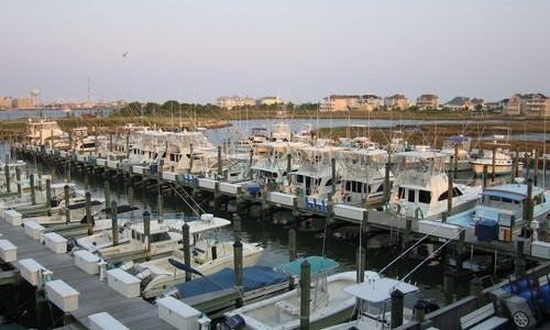 Aerial shot of Ocean City Fishing Center Marina
